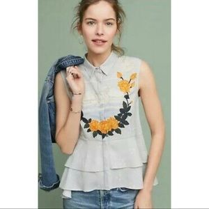 Anthropologie embroidered top blouse kashti size L